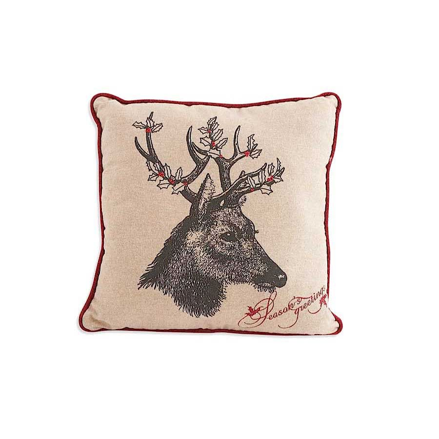 16 Inch Square Linen Pillow with Deer Motif with Holly Antlers image
