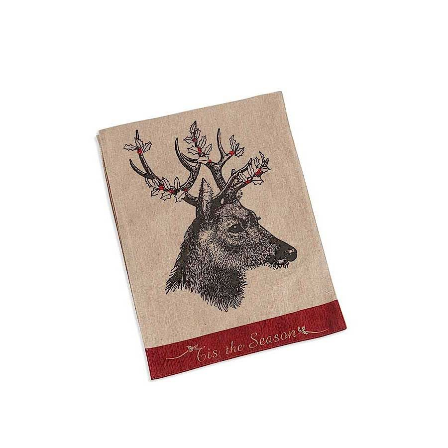 70 Inch Linen Table Runner with Deer Motif with Holly Antlers