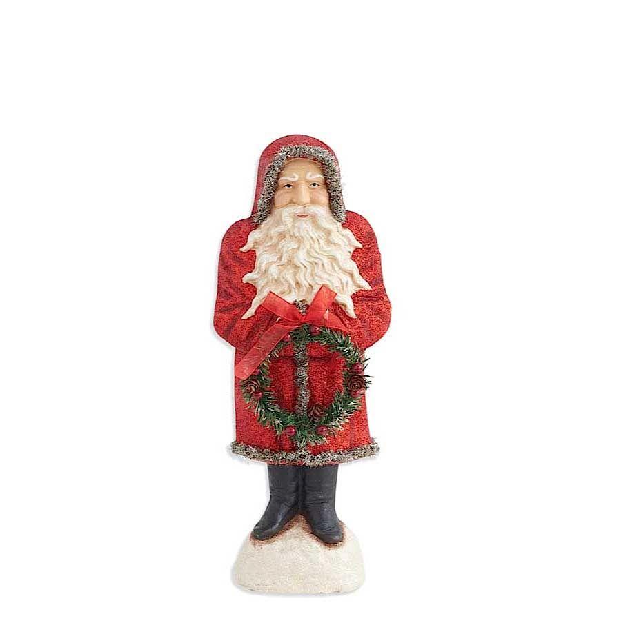 17 Inch Santa in Red Glitter Coat Holding Wreath image