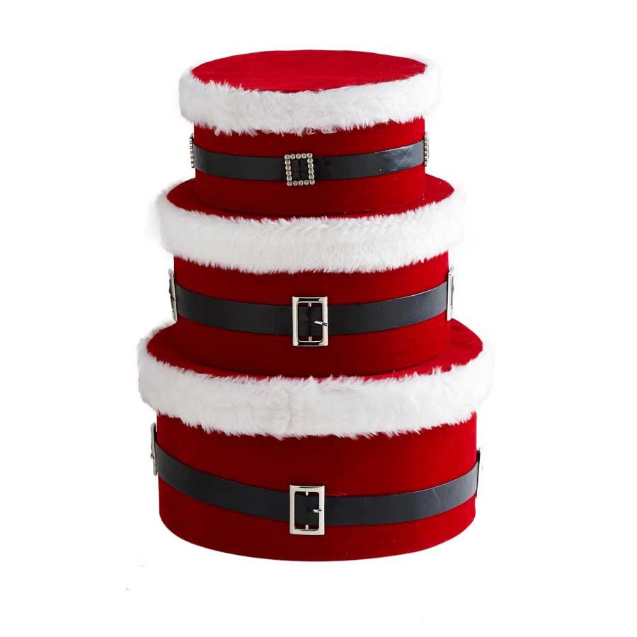 Round Nesting Santa Belt Boxes (Set of 3) image