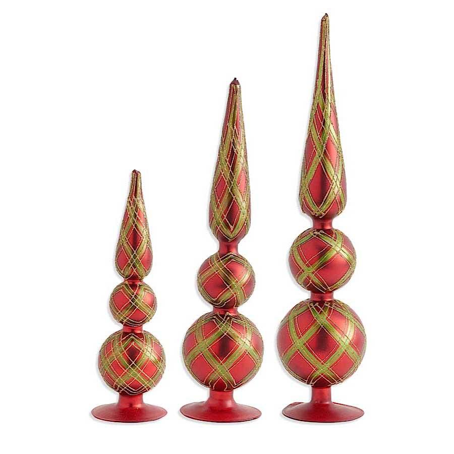 Red Gold Green Crisscross Glass Tabletop Finials (Set of 3) image
