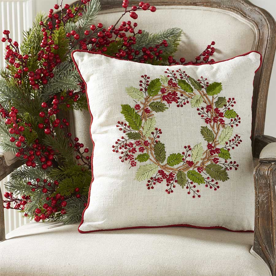16 Inch Square Linen Pillow with Embroidered Red Berry Wreath image