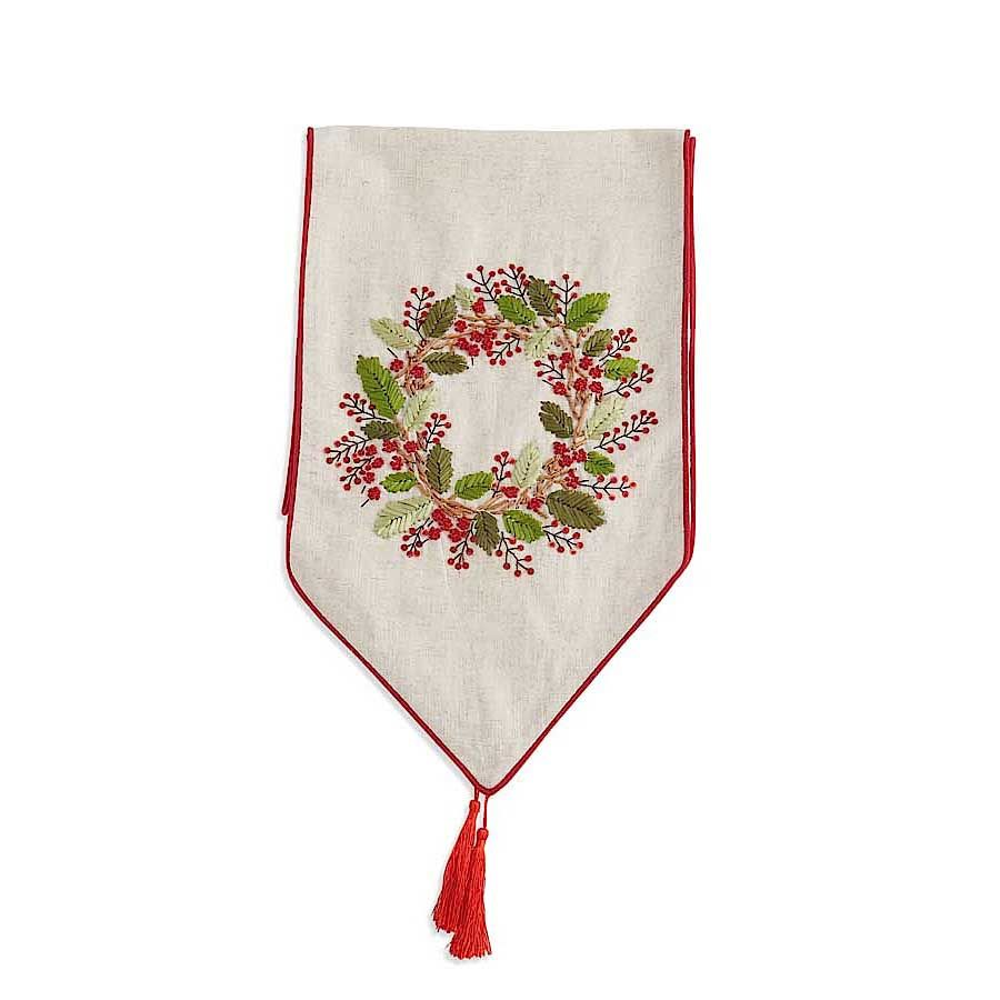 72 Inch Linen Table Runner with Embroidered Red Berry Wreath