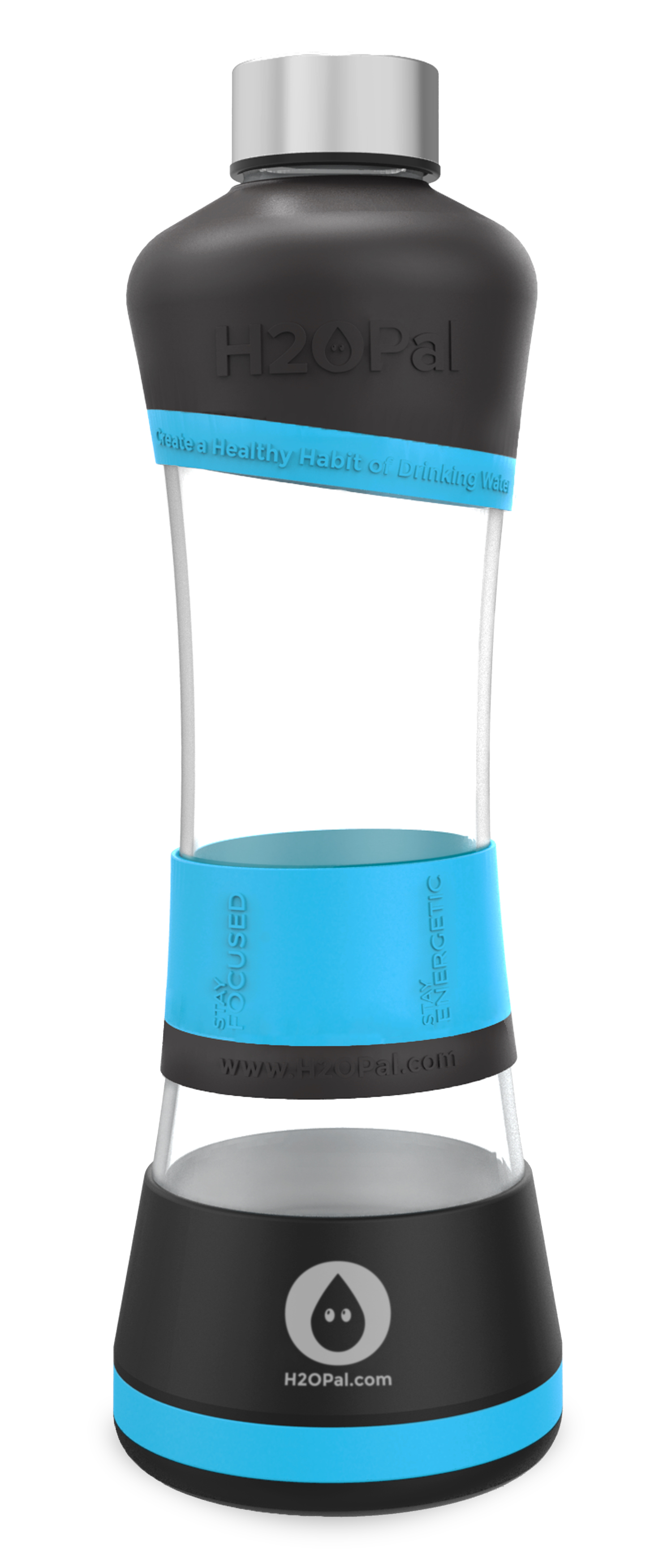 H2OPal Smart Water Bottle Hydration Tracker- Blue and Black image