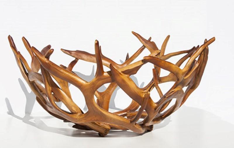 Set of 2 Brown Resin Antler Bowls image
