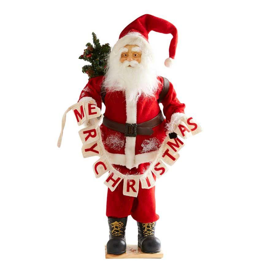 30 Inch Santa Holding Merry Christmas Banner image