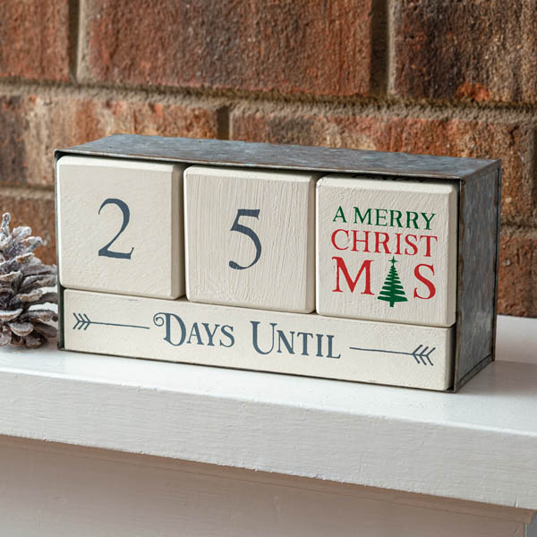 Holiday Wooden Block Calendar with Metal Box image