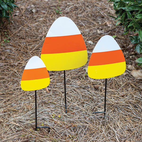 Halloween Set of 3 Candy Corn Garden Stakes image