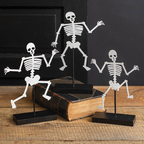 Halloween Set of Three Skeletons with Wooden Base image