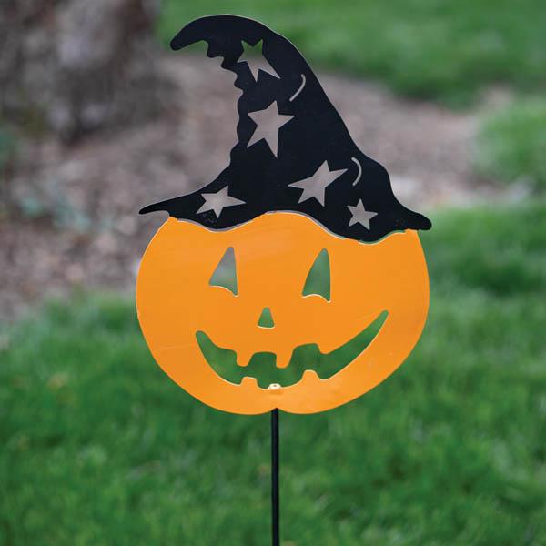 Halloween Pumpkin Head Garden Stake image