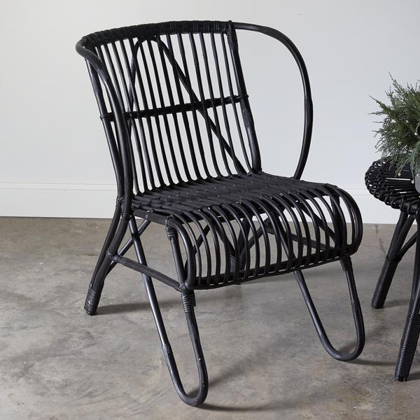 Boho Rattan Chair in Black