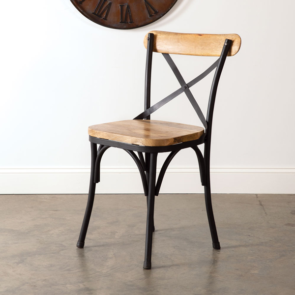 Black Metal Crossback Farm Chair with Natural Stain
