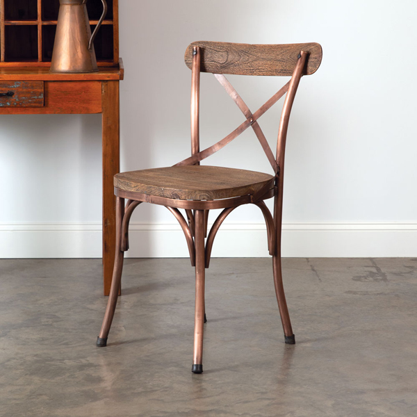 Copper Metal Crossback Farm Chair with Dark Stain