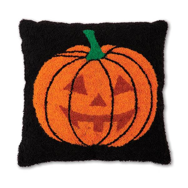 Halloween Jack O'Lantern Hooked Cotton Pillow image