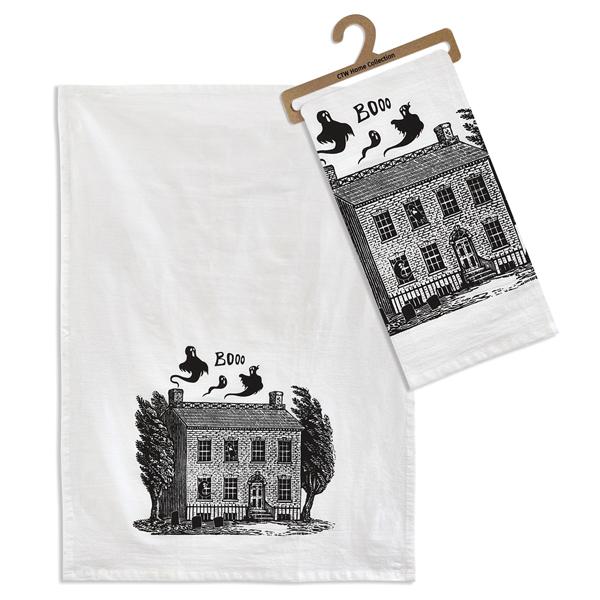 Halloween Haunted House Tea Towel- Box of 4 image